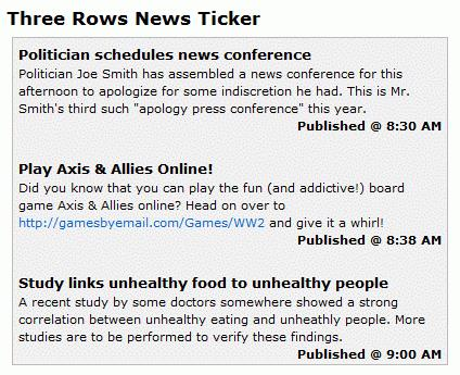 Example of a Three Rows News Ticker
