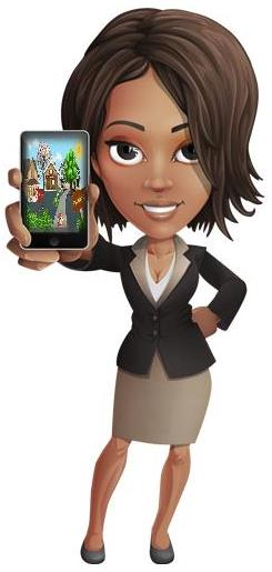business woman holding a cellphone with griotsites.com background